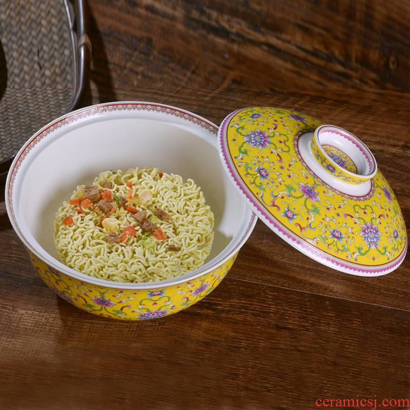 Jingdezhen famille rose porcelain mercifully rainbow such use household with cover a small bowl of soup bowl factory dormitory tableware use of microwave oven