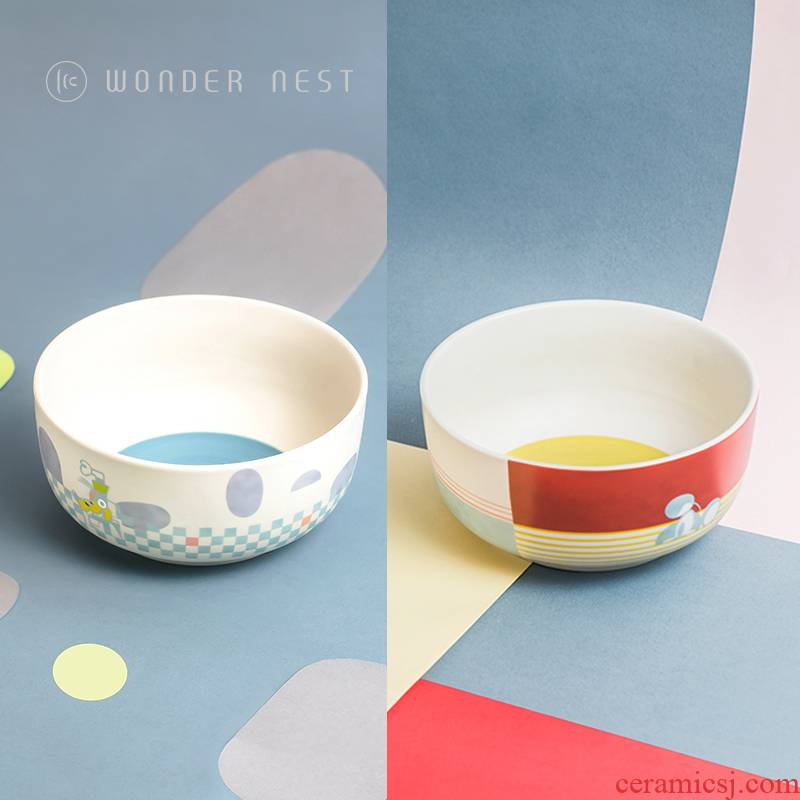 Good nest WonderNest Disney ceramic household large rainbow such as bowl chopsticks aircraft salad bowl with a spoon, run out