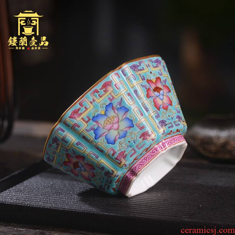Jingdezhen ceramic all hand made enamel colors branch benevolent master cup large individual single CPU kung fu tea cup