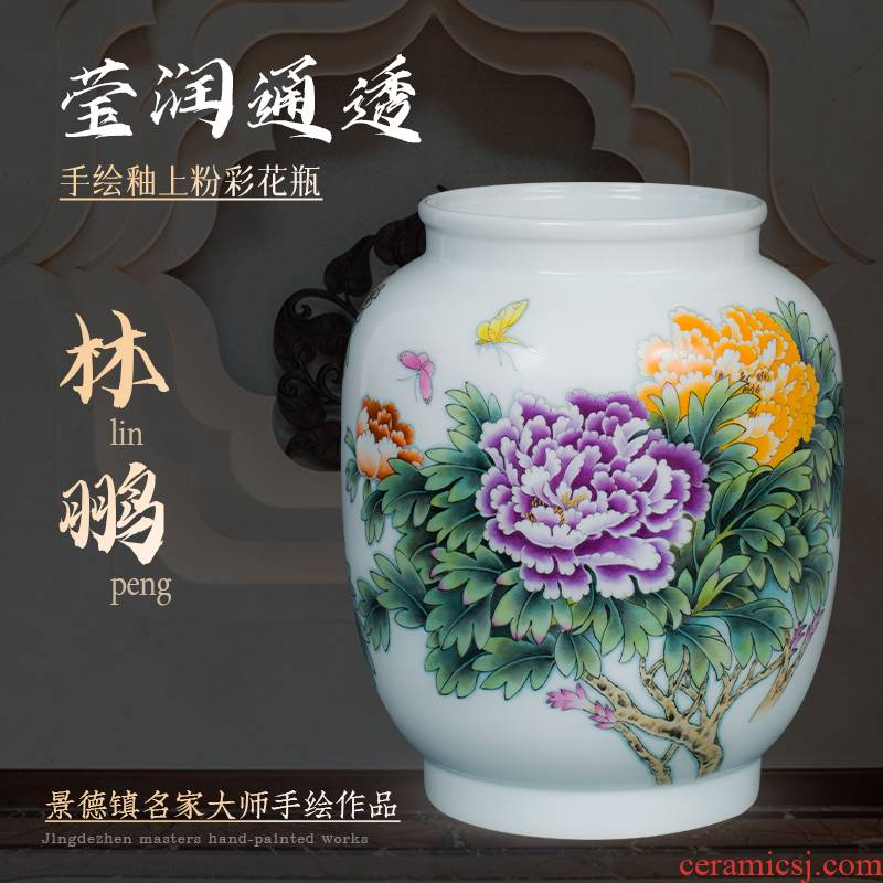 The Master of jingdezhen ceramic powder enamel handpainted Chinese penjing decorative vase flower arranging the sitting room porch porcelain arts and crafts