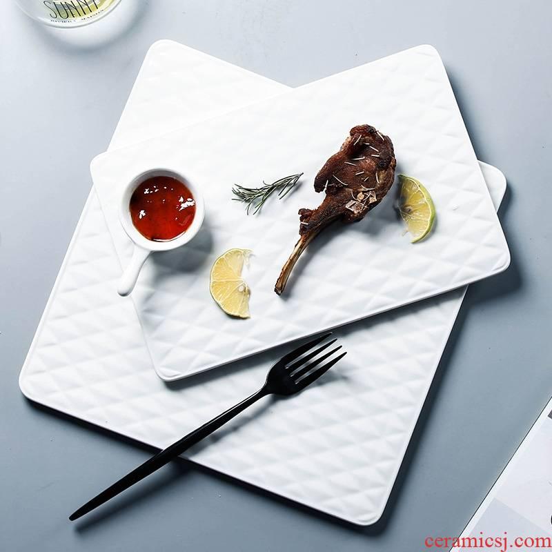 Qiao mu ceramic diamond plaid western food sushi all the fruit dish pizza plate M318 bread board