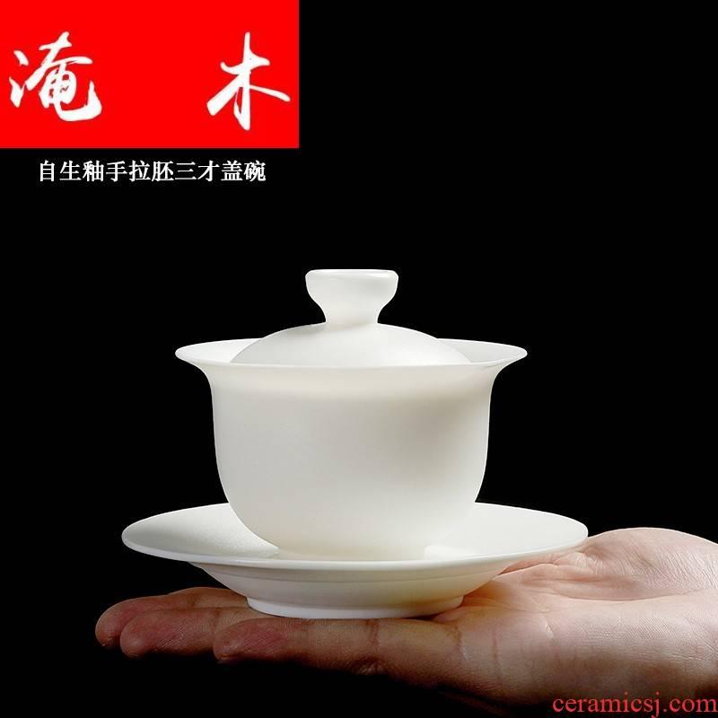 Submerged wood dehua pure manual white porcelain household kung fu tea tureen ceramic cups large Chinese three bowl mercifully