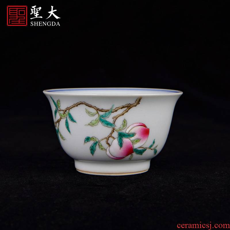 St the ceramic masters cup hand - made jingdezhen blue and white tie up branch lotus famille rose, peach sample tea cup tea kungfu tea cups