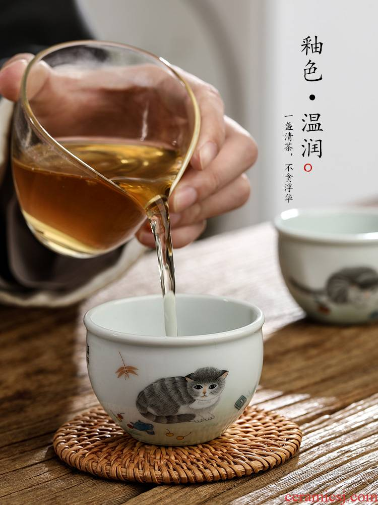 Jingdezhen tea master kung fu tea cup single cup of pure manual hand - made the cat ceramic bowl sample tea cup only
