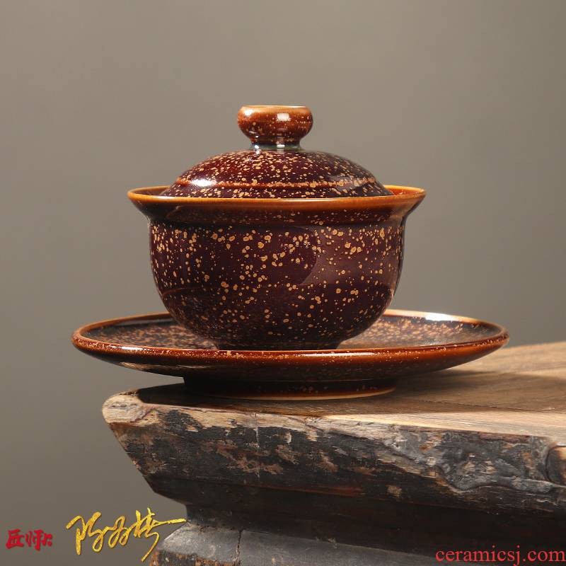 The Master artisan fairy Chen Weichun golden marble only three tureen ceramic checking kung fu tea tea cups