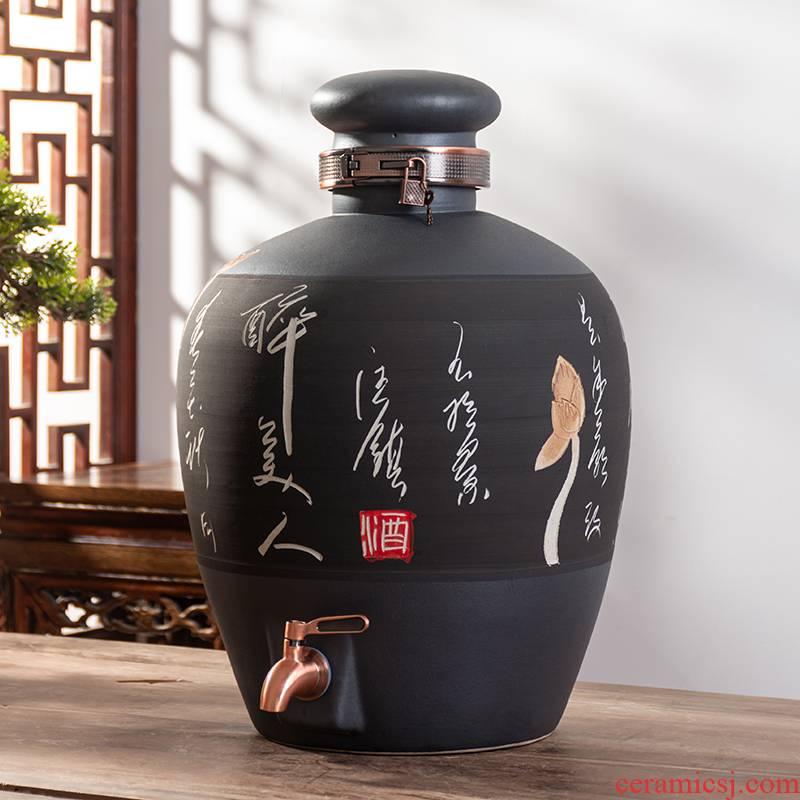 Jingdezhen ceramic jar 10 jins 20 jins 30 jins 50 kg to old household sealing liquor bottles with tap