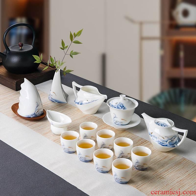 Jingdezhen suet jade white porcelain tea set household light key-2 luxury gift boxes kung fu tea cup lid bowl suit