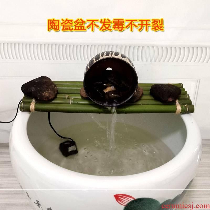 Fish tank water bamboo mat bamboo raft board decorative bamboo fleshy ceramic diy furnishing articles floating cylinder parts as meat pad Fish