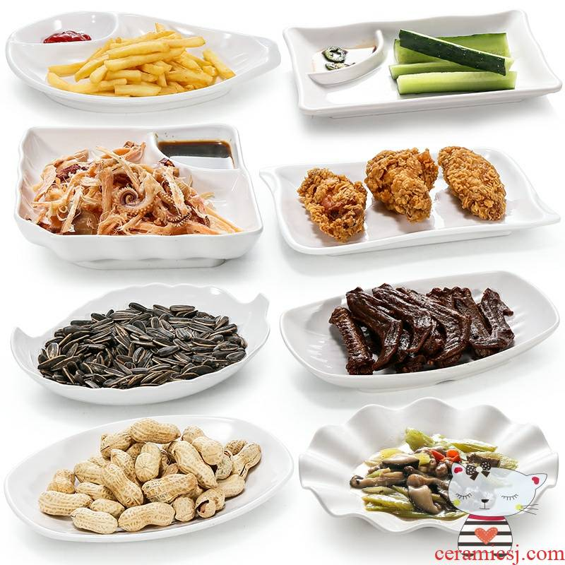 Degree of rocky white snack food plate plastic imitation porcelain plate bar KTV little dish 10 French fries snacks