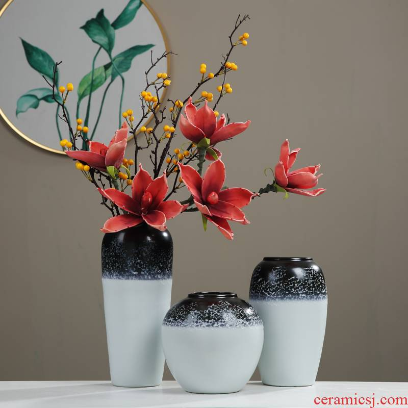 Jingdezhen zen new Chinese style ceramic vase furnishing articles sitting room porch TV cabinet table dry flower decorations