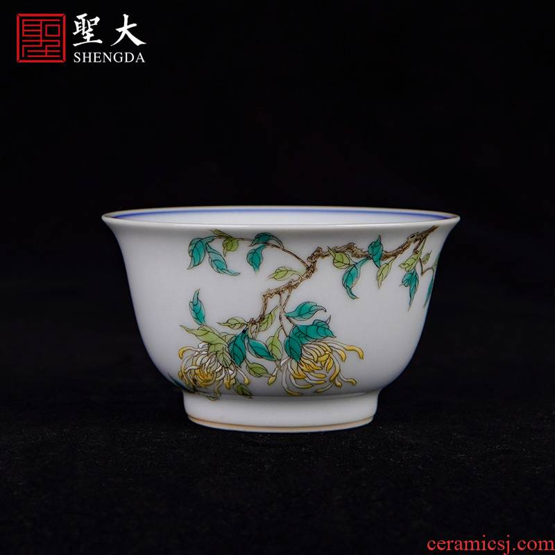 Holy longevity and large ceramic sample tea cup hand - made porcelain powder enamel by masters cup all hand jingdezhen tea cups