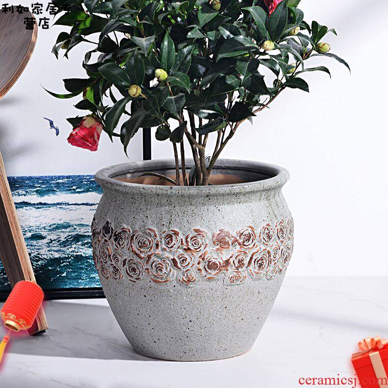 Ceramic POTS oversized northern wind coarse pottery breathable ground indoor and is suing the big green plant a rose flower pot is contracted