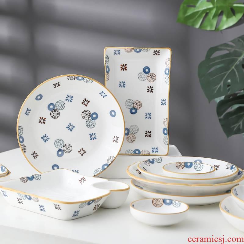 Japanese ceramic dish dish dish creative breakfast bread plate under the glaze color tableware microwave baking dish household dumpling dish