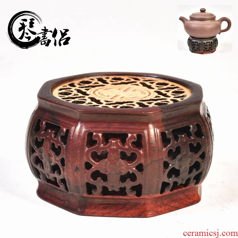 Pianology picking red acid branch set by huang hollow - out octagon incense buner base solid wood, heightening annatto handicraft furnishing articles base