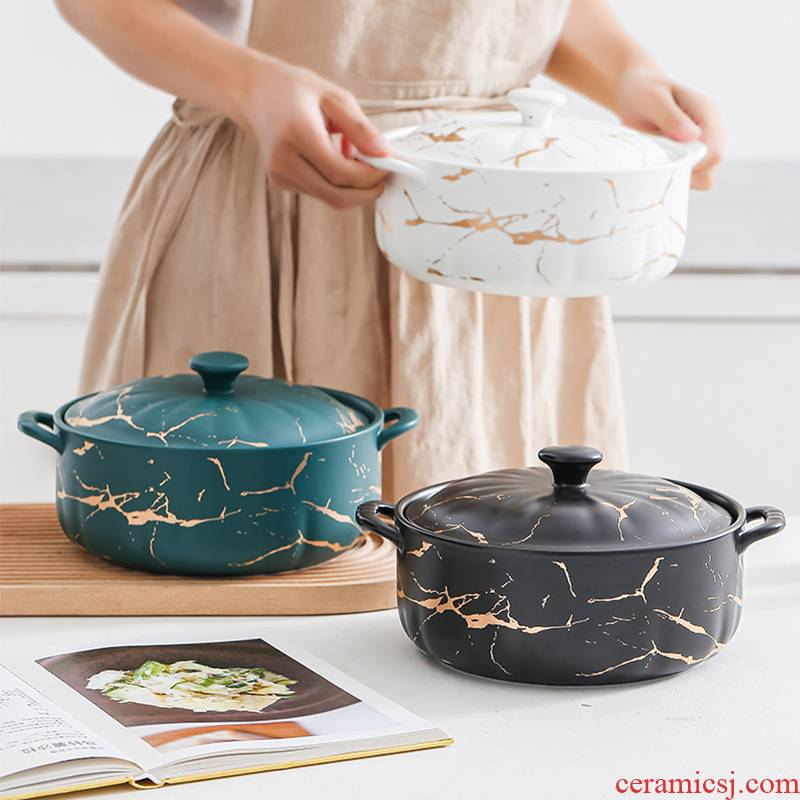 Northern wind soup bowl creative household marble gold ceramic soup pot high - capacity ears with cover soup bowl