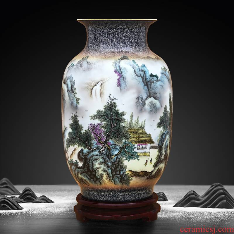 To ceramics up flower glaze powder enamel cui tao LAN vase