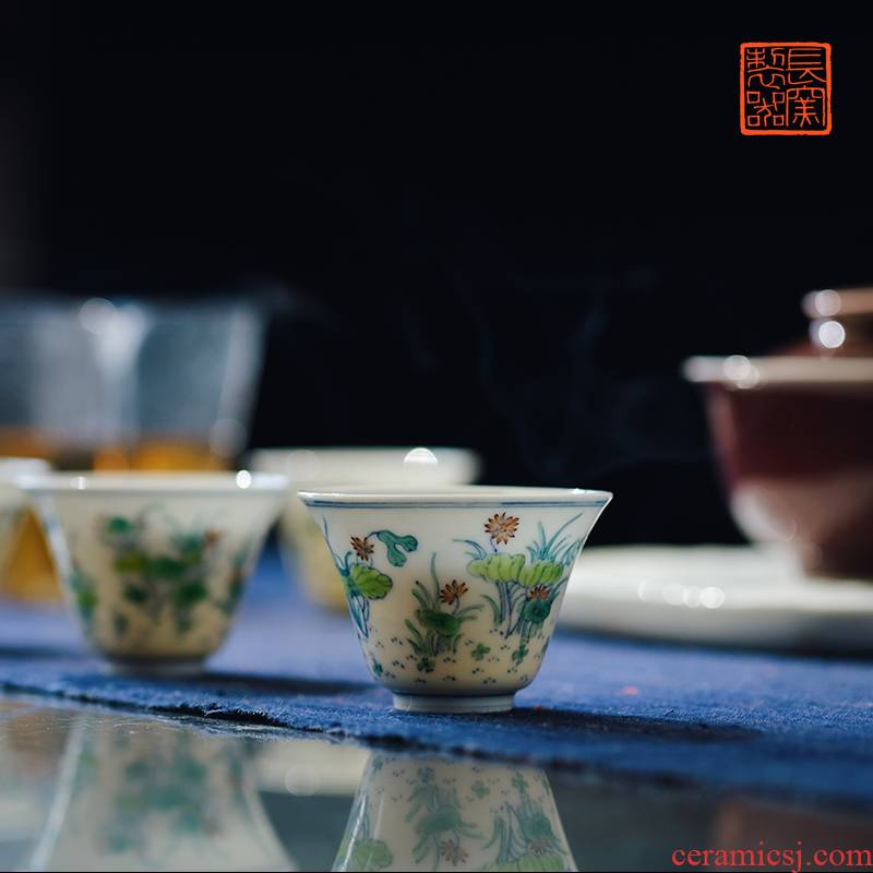 Offered home - cooked view flavour to maintain a pipe in the color lotus cup jingdezhen pure manual archaize ceramic tea cups