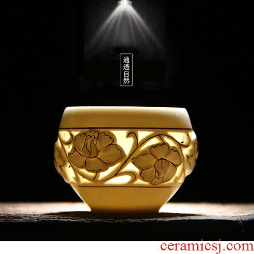Ceramic kung fu master cup paint hollow double - layer cup not hot cups sample tea cup and exquisite cups of tea cups