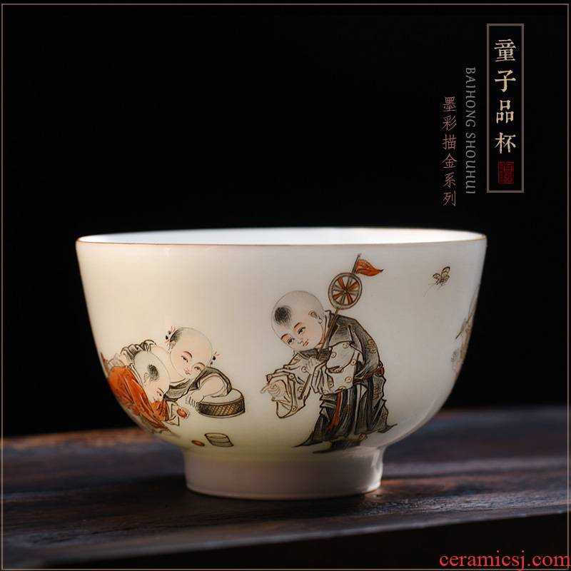 Hundred hong color ink paint the lad master cup single cup of jingdezhen tea service manual ceramic cups sample tea cup bowl