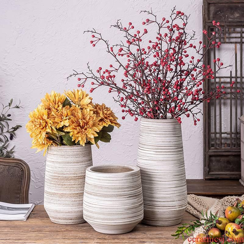 Dried flower vase furnishing articles flower arranging jingdezhen ceramic industry wind restoring ancient ways POTS to big sitting room ground flower implement European style