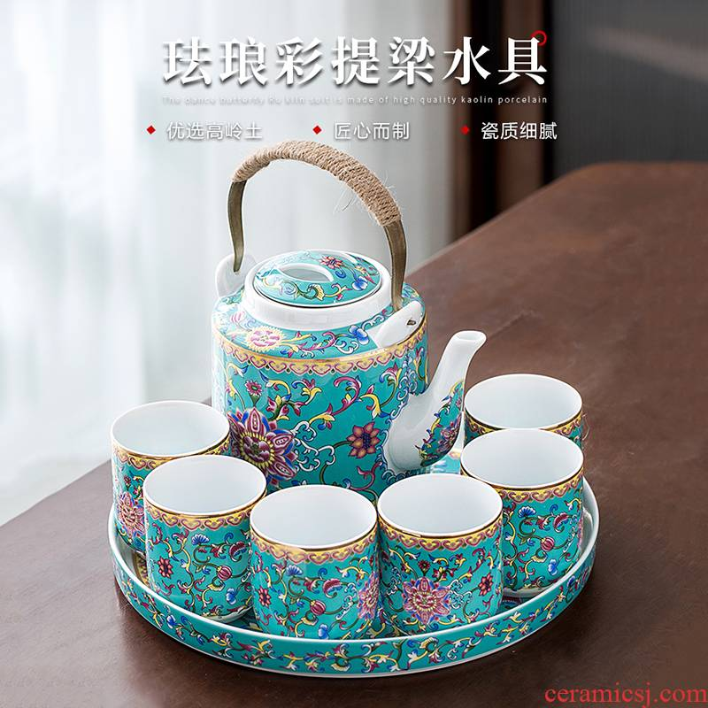 Jingdezhen colored enamel kung fu tea set home a pot of six cups of large pot cup tea tray teapot girder