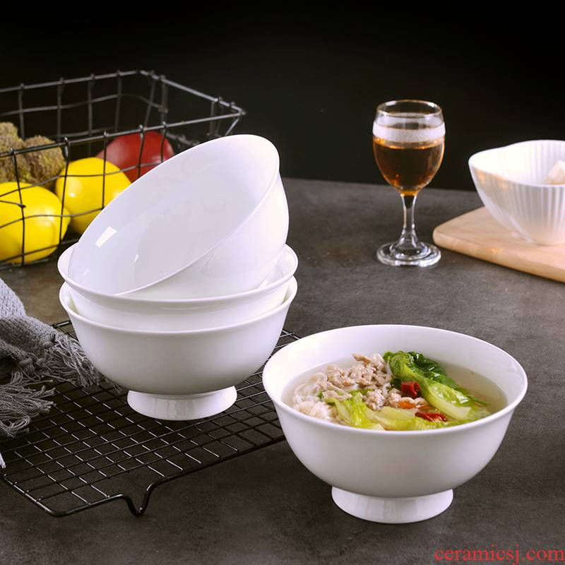 Household creative move ceramic rice bowl suit Chinese style is not pure white, tall foot ipads bowls to eat noodles bowl