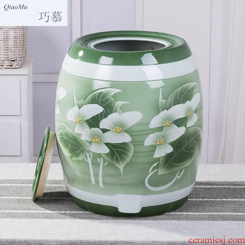 70 jin Qiao mu oak barrel of ceramic jar household medicine it large yellow rice wine liquor wine shop with wine