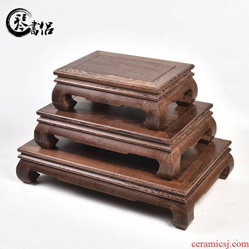 Pianology picking bright type rectangular wings woodcarving handicraft mahogany base place of Buddha flowerpot solid wood base