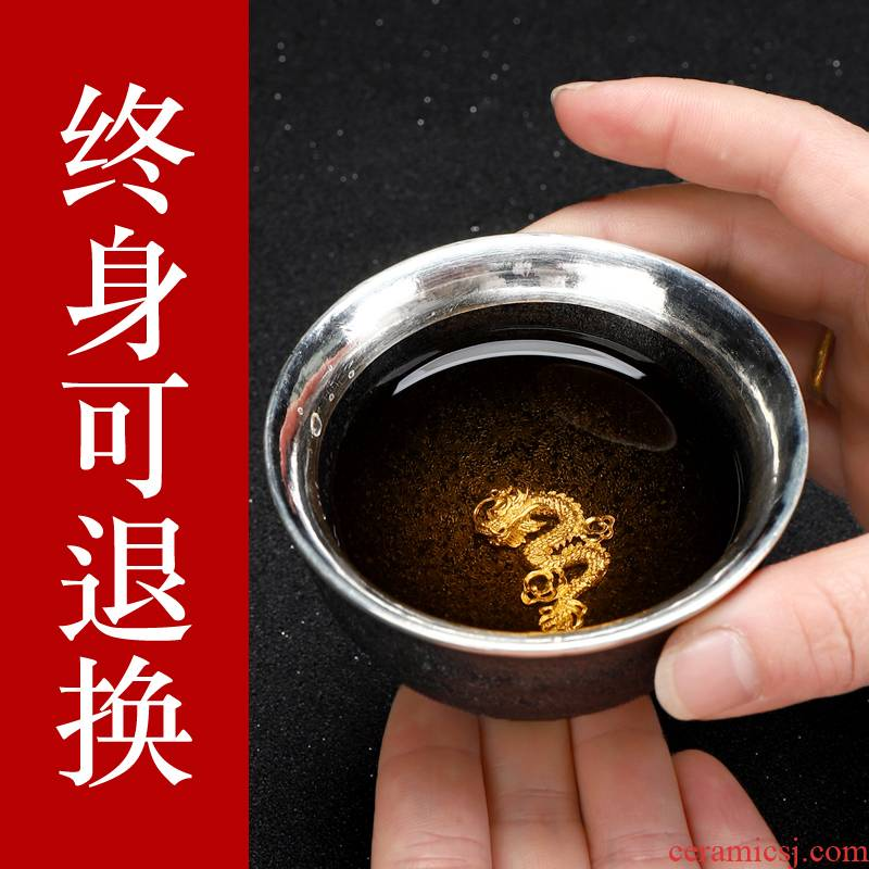 Recreational product tank wrap large silver cup 999 master kung fu tea cup manual single cup sample tea cup ceramics