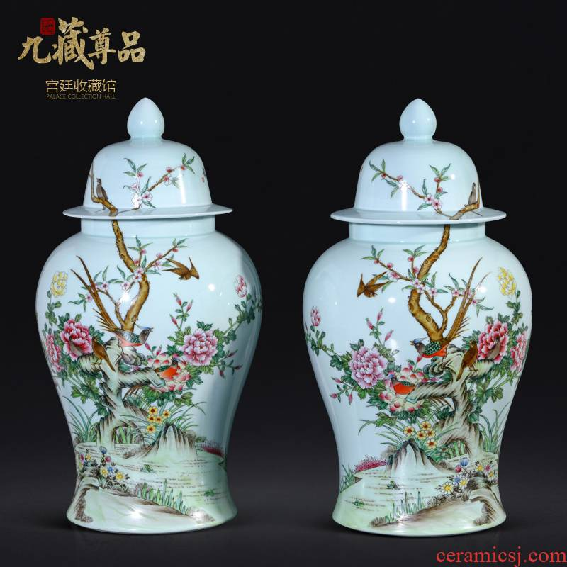 Jingdezhen ceramics antique hand - made pastel blue glaze general tank Chinese style living room TV cabinet porch is decorated furnishing articles