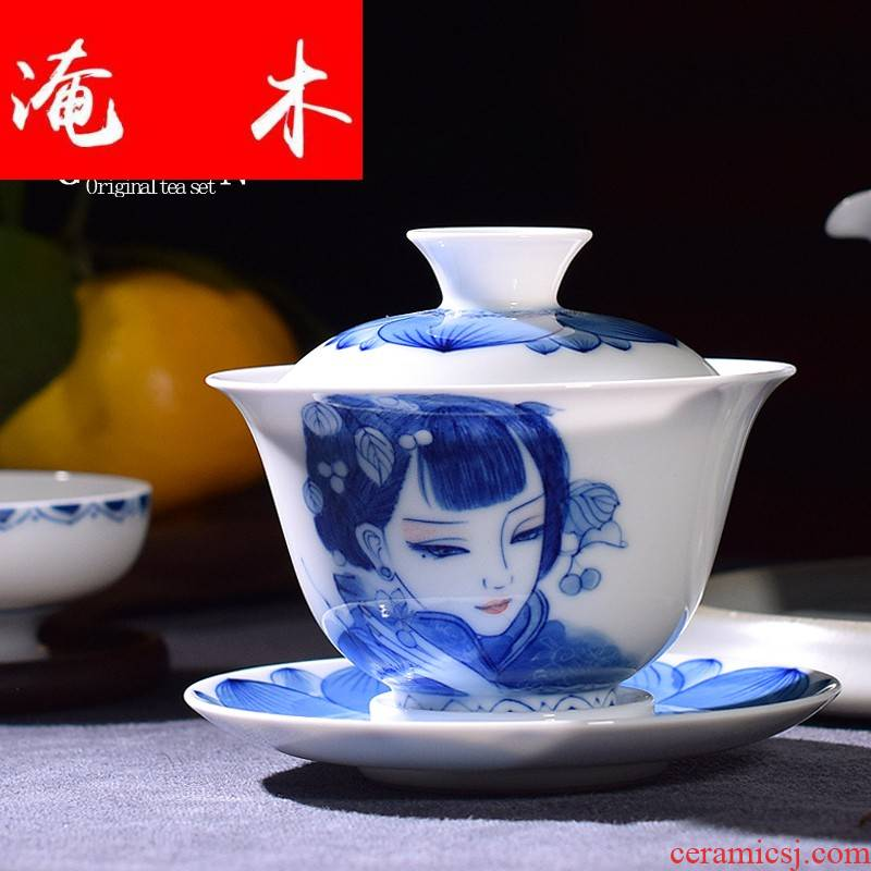 Flooded the wooden hand tureen beauty white porcelain jingdezhen blue and white porcelain pure manual three bowl kung fu tea cups