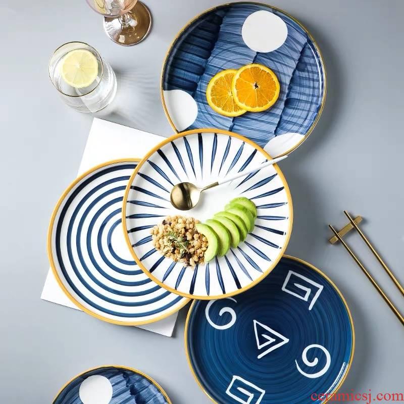 Japanese hand - made ceramic household utensils.net red creative dish plate Nordic breakfast tray, western food steak plate plate plate