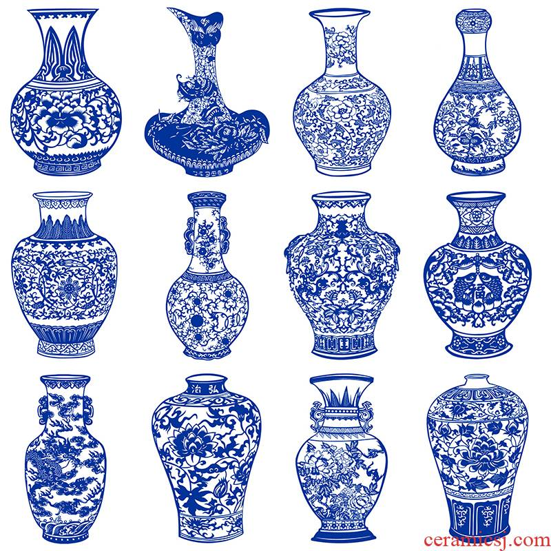Black and white printing cca shut of the design of blue and white porcelain vase paper - cut 12 sharp Chinese wind is carved paper pattern material
