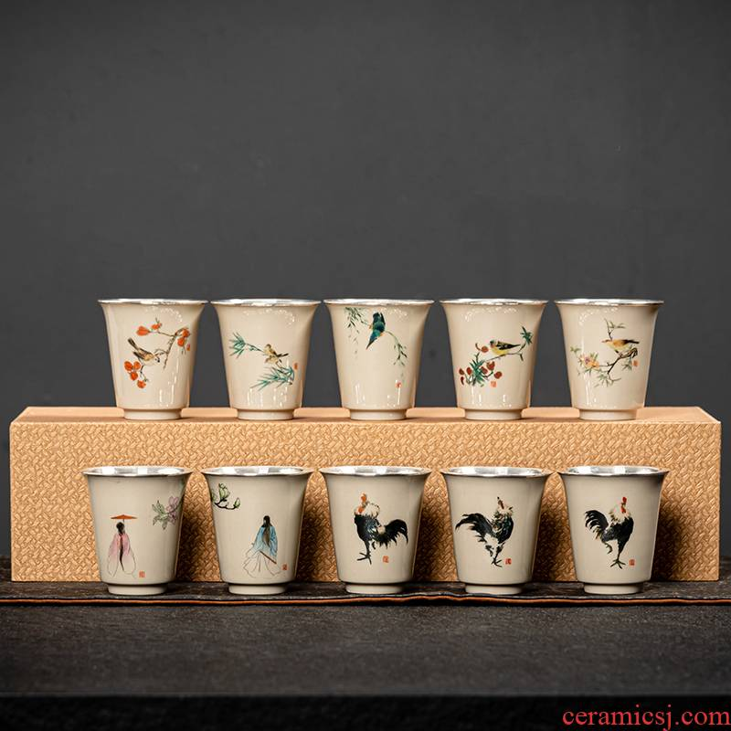 Jingdezhen hand - made ceramic silvering silver 999 eat all silver cups children cups single fragrance - smelling cup only