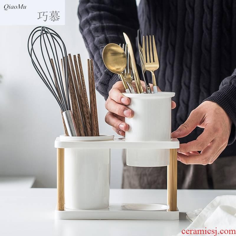 Qiao mu Japanese multi - function receive tube of household ceramics chopsticks chopsticks box binocular kitchen shelf drop chopstick