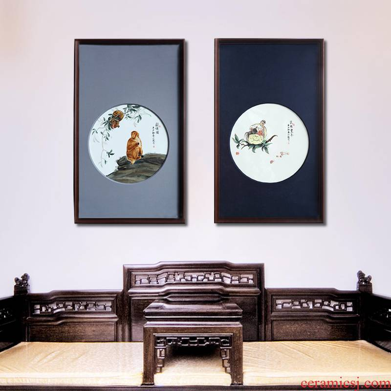 Art of jingdezhen porcelain plate painting manual coloured drawing or pattern sitting room sofa background wall porch decoration of Chinese style household hangs a picture