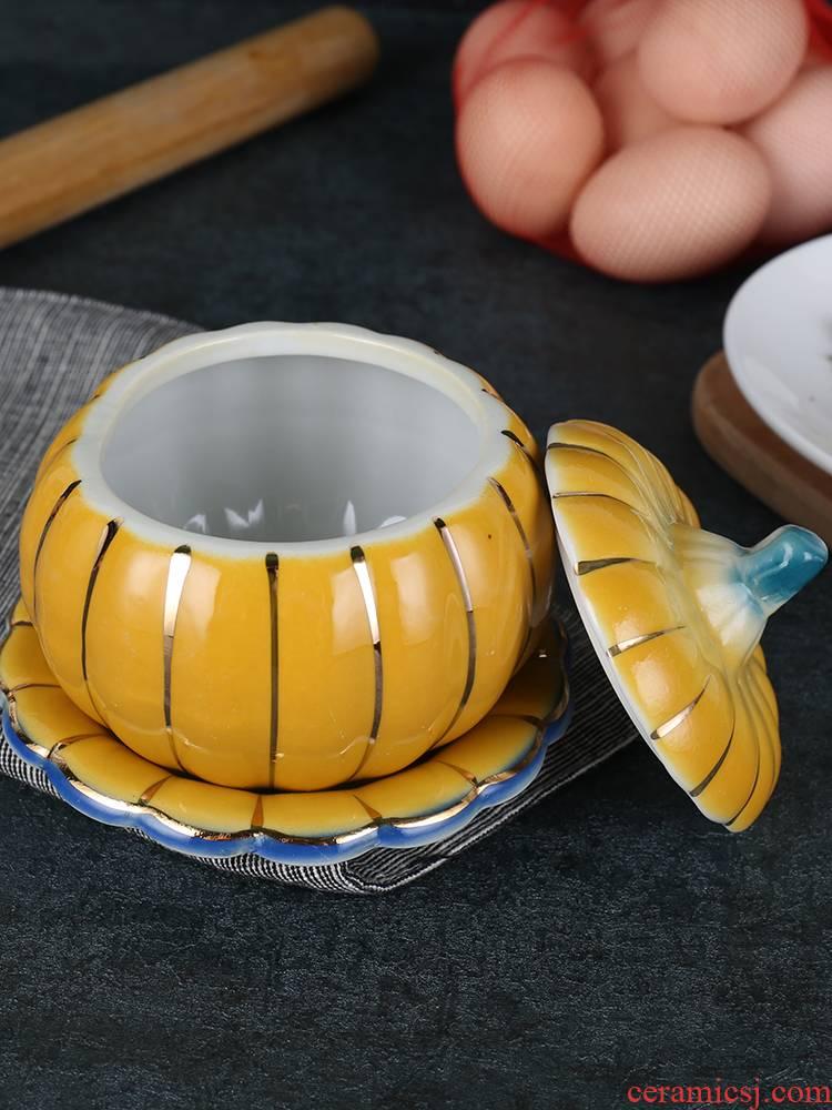 Ceramic pumpkin porridge large soup bowl rainbow such as bowl hotel characteristics tableware household dessert bowl chicken stew custard bird 's nest