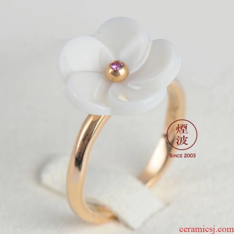 German mason MEISSEN porcelain pod 蒾 ms spend 18 k rose gold platinum diamond ring