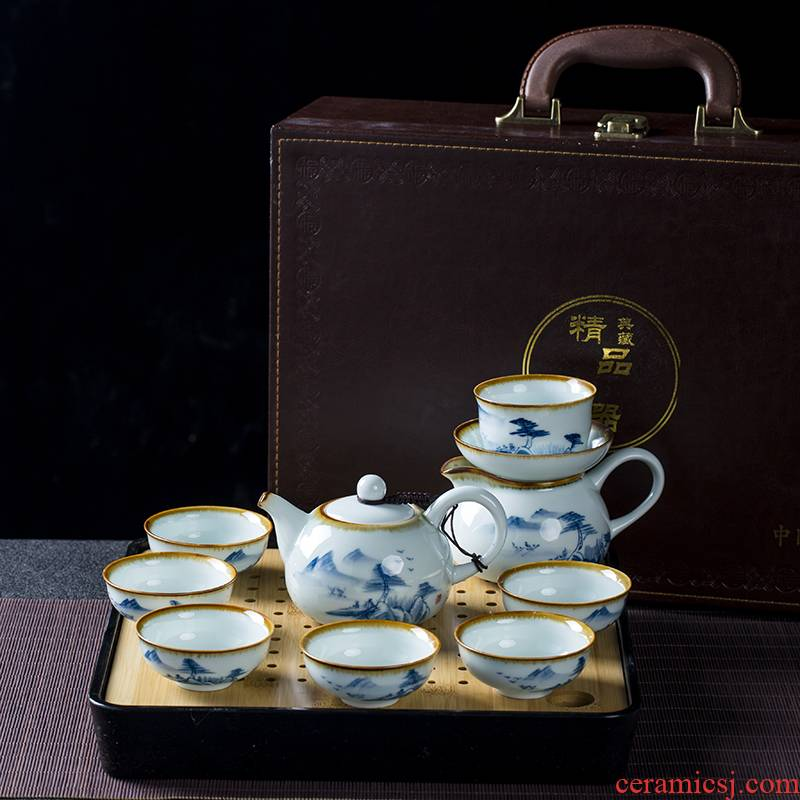 Jingdezhen hand - made of high - end kung fu tea set home sitting room is a small set of blue and white porcelain cup tea tray tea kettle