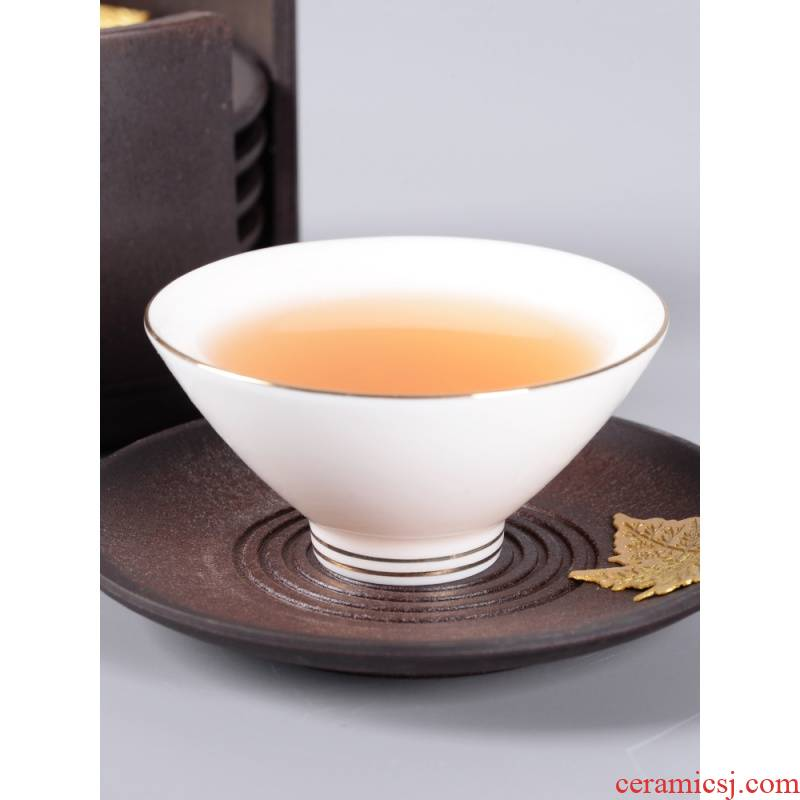 Suet jade see colour hat to glass ceramic kung fu noggin personal special bowl is a single white porcelain sample tea cup children