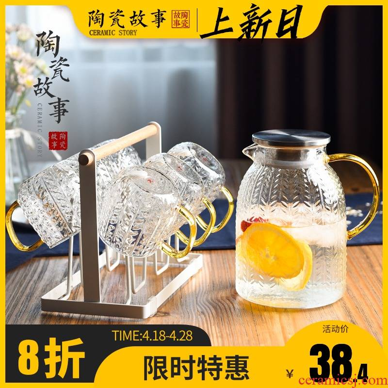 Ceramic story cold bottle of household glass kettle high - temperature high - capacity light excessive water cup cold water suits for