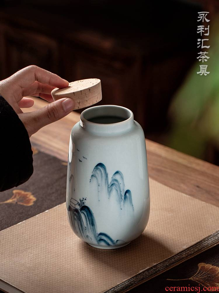 Web celebrity jingdezhen ceramic tea pot small portable light key-2 luxury hand - made aneroid restoring ancient ways of blue and white porcelain household seal pot