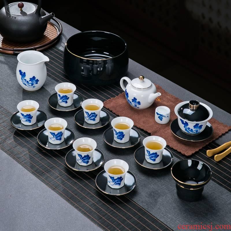 Jingdezhen ceramic hand - made kung fu tea set home sitting room office receive a visitor the whole tea tea tray