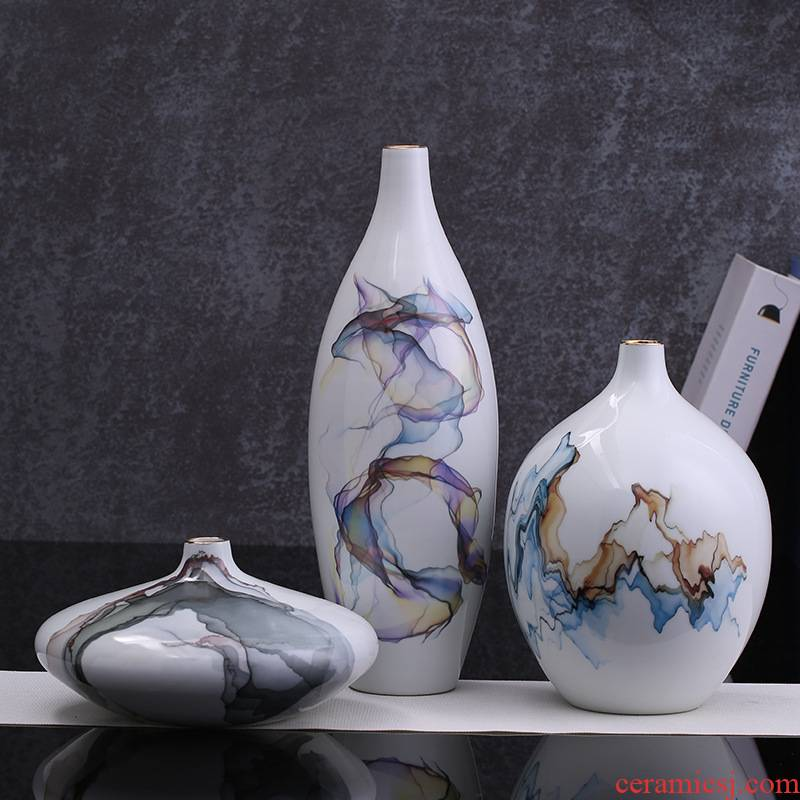 New Chinese style example room light ceramic handicraft furnishing articles household act the role ofing is tasted jingdezhen ceramic vase key-2 luxury three - piece suit