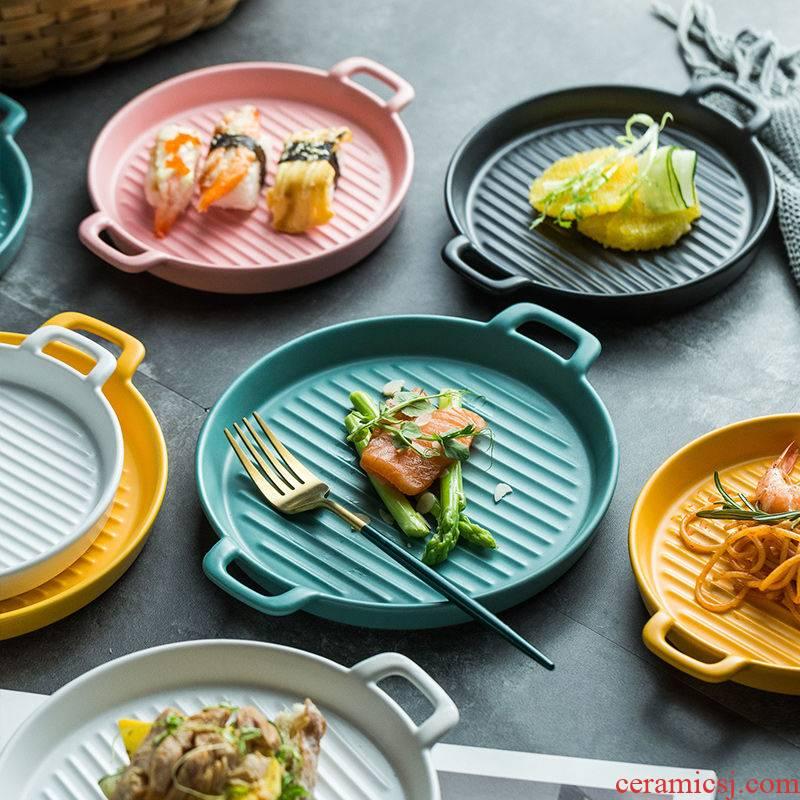 Nordic circular plate creative ears baking baking tray porcelain household food dish ceramics microwave oven.