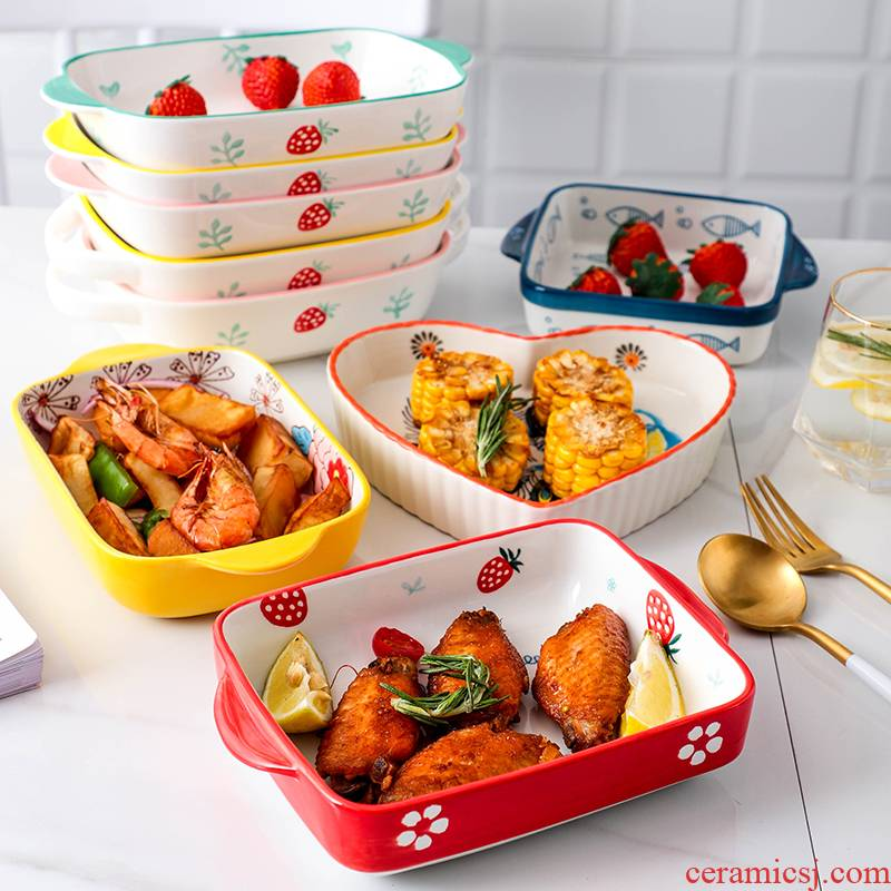 Ears roasting pan ceramic strawberry square pan cheese paella dish oven available disk microwave oven
