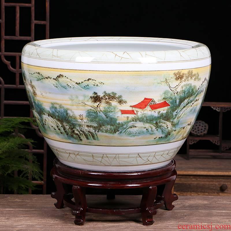 Jingdezhen ceramic cylinder aquarium plant trees water lily lotus home is suing patio tank large goldfish turtle cylinder