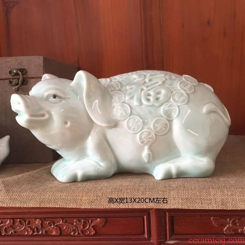 Pig Pig, lovely porcelain porcelain jingdezhen porcelain its decoration Pig lovely porcelain ceramic Pig furnishing articles