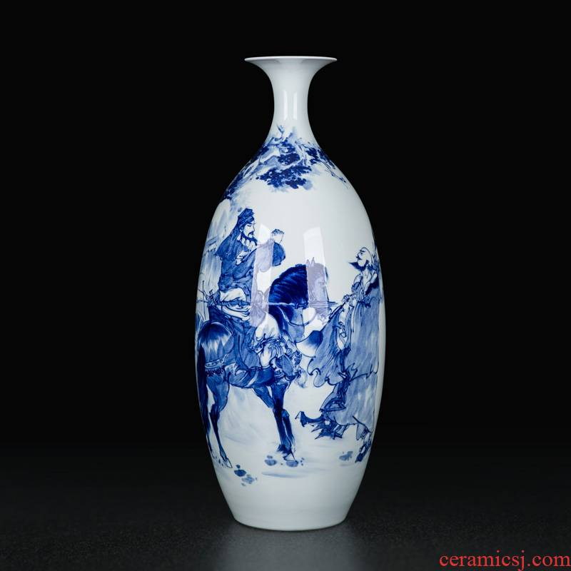 Jingdezhen ceramics large blue and white porcelain vase Chinese hand - made sitting room adornment flower arranging furnishing articles manually classical porcelain