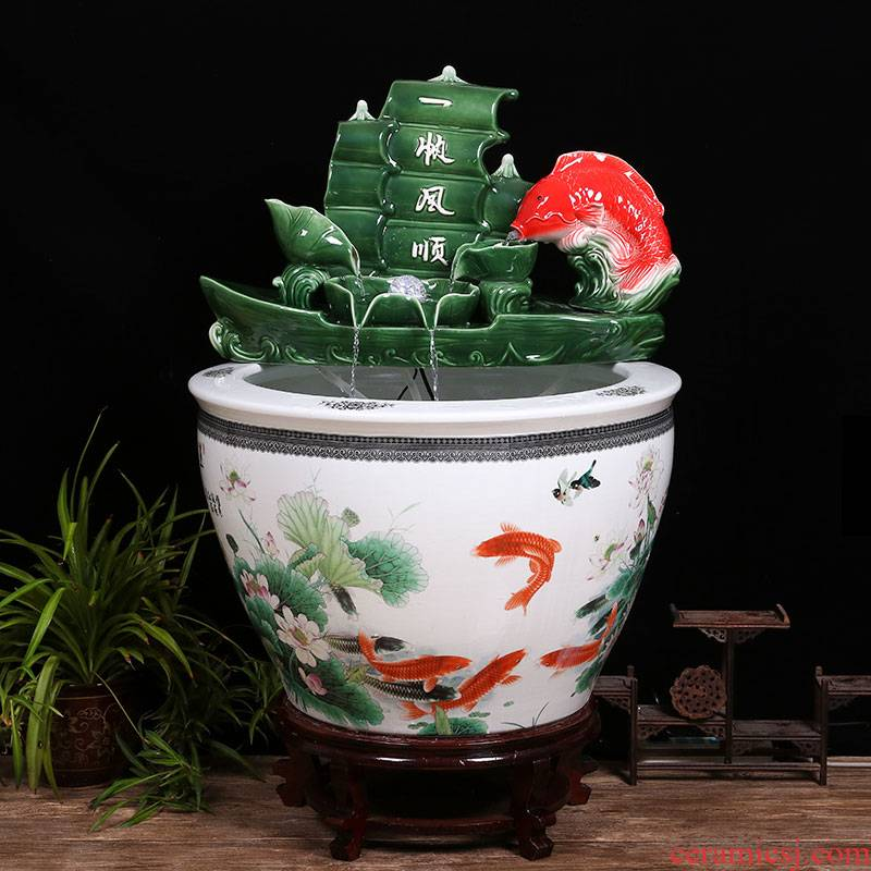 Jingdezhen ceramic aquarium furnishing articles office sitting room ground water circulating water filter yard big fish tank